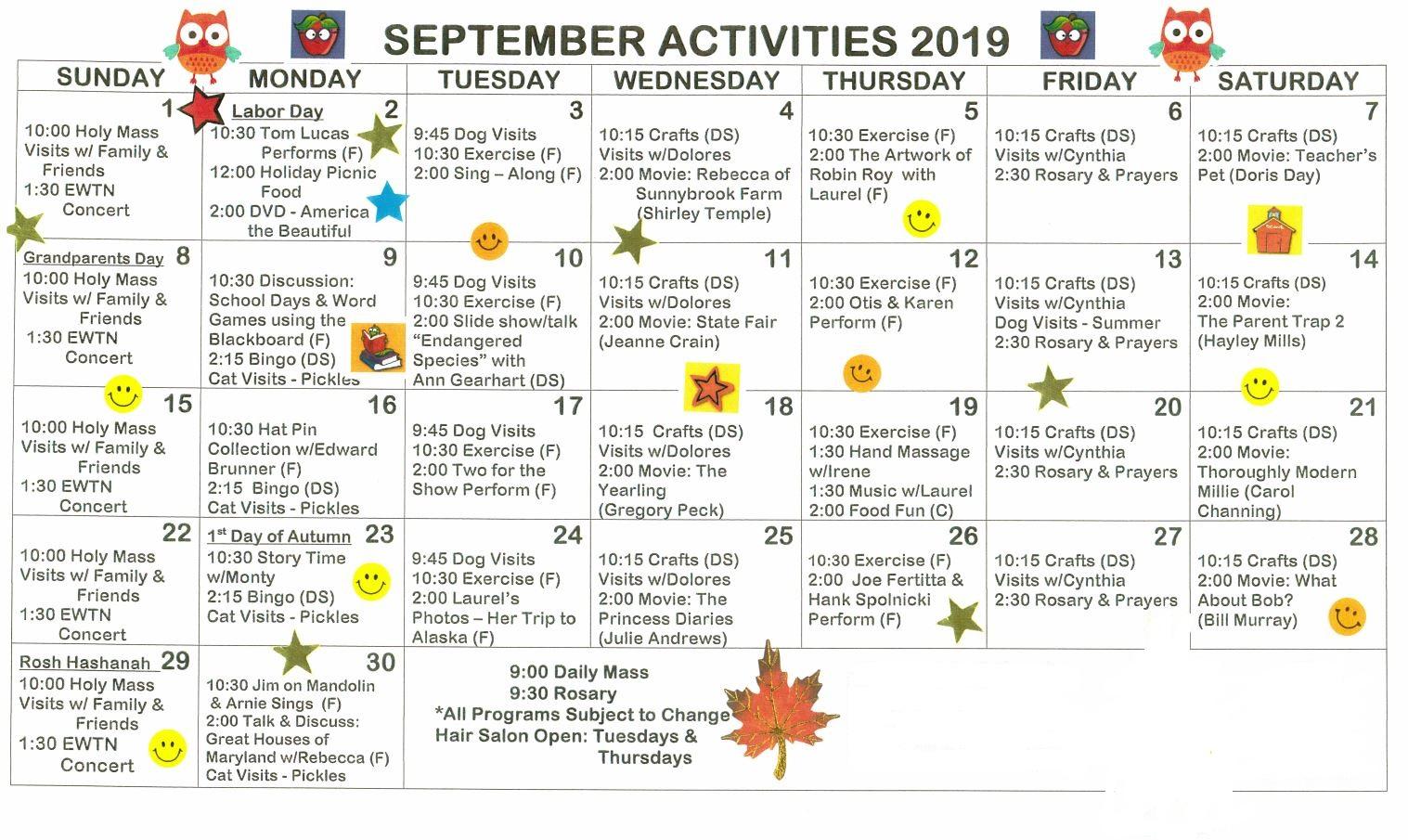 Activities | St  Joseph's Nursing Home